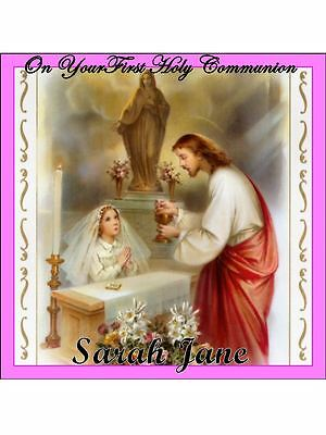 """7.5"""" Square First Holy Communion Cake Toppers Personalized Edible Photos Item757"""