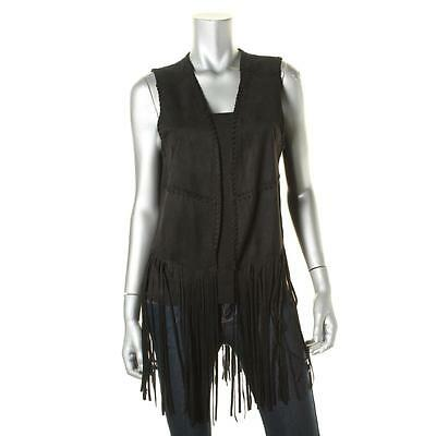 Blank NYC 9386 Womens Black Faux Suede Fringe Open Front Casual Vest XS BHFO