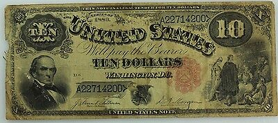 """1880 $10 Legal Tender! """"Jack Ass"""" Note! Vf Details! Us Coin Lot #3479"""