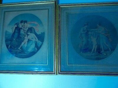 Pair of Antique Color Lithographs Cupid Struggling With The Graces Framed