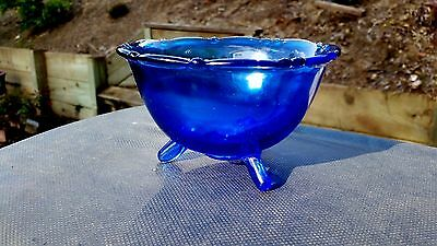 """Cobalt Blue Mt. Pleasant 3-Toed Footed Mayonnaise Bowl 5¼"""" Wide X 3¼"""" Tall"""