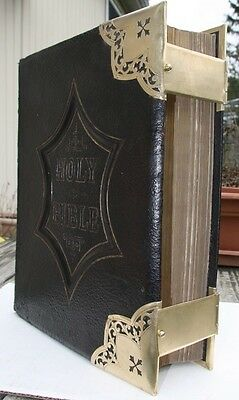 antique family Bible brass corner clasps BEAUTIFUL!! blank family pages