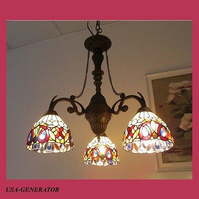 Chandelier 3 Light Stained Glass Victorian Tiffany Craftsman Sty. Antique Bronze