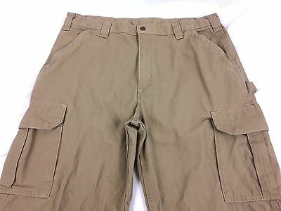Mens Carhartt Tan Canvas Cargo Work Pants Dungaree Fit Size 40X34