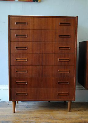 Danish Modern Teak Tall Chest Dresser