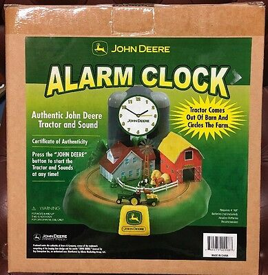 NEW John Deere Alarm Clock Rooster Barn Farm House Authentic Tractor
