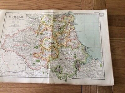 Vintage County Map of DURHAM from  Bacons Atlas 1920