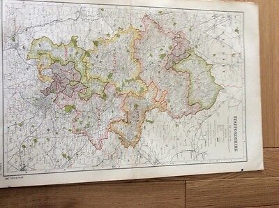 Vintage County Map of STAFFORDSHIRE from  Bacons Atlas 1920
