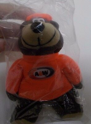 """KW-109 1997 A & W Root Beer Small Plush Bear 6"""" new in package by Alpha Kids"""