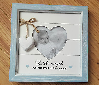 """Shudehill Giftware Baby Boy picture frame little angel 7x7"""" with heart NEW"""