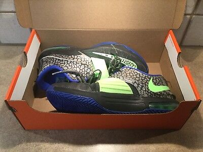 NIKE AIR KD 7 VII Metallic Pewter Lime Antracite Boys Basketball Shoes SIZE 6.5Y