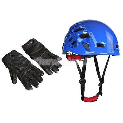 Rock Climbing Helmet 54-62cm + 1 Pair Black Leather Rappelling Gloves Large