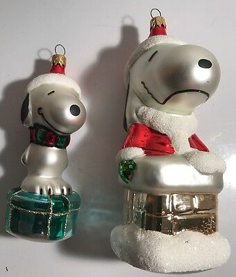 2 Peanuts Kurt Adler UFS Glass Christmas Ornaments Snoopy Charlie Brown Santa