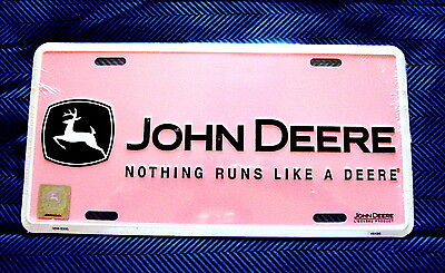 JOHN DEERE-Nothing Runs Like a DEERE-PINK EMBOSSED METAL LICENSE PLATE-NEW