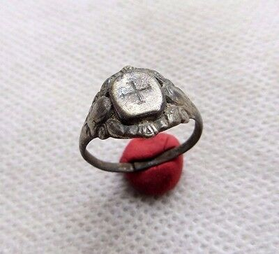 Ancient Medieval Knights Templar Silver Ring.-Wearable.
