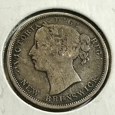 Rare 1864 New Brunswick Twenty Cents Silver Low Mintage Of 150,000