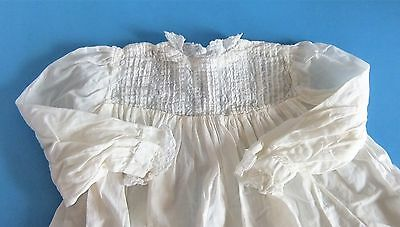 Antique Vintage Baby Christening Gown Pin-tucking & Lace