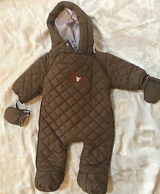 Baby Boy Jacadi France Brown Winter Bunting Footed Coat Coverall 3m Snowsuit