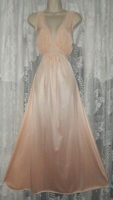 Vtg Rare MISS ELAINE Silver Tag PEACH BUTTER SOFT Nightgown Negligee Gown L+