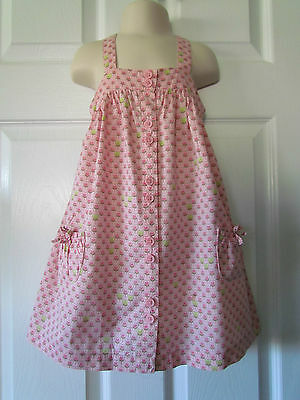 Cherokee Pink Hearts Floral Print Toddler Girls Summer Dress Size 3T Cute!!!