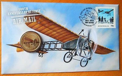 Australia 100Th Anniversary Of First Air Mail 2014  Pnc Stamp & $1 Coin Covers