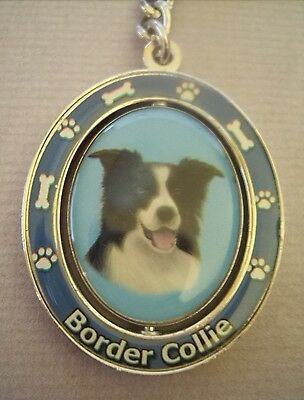 New Border Collie Dog Metal Spinning Pet Keychain
