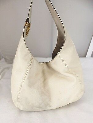 Authentic MICHAEL KORS Logo Vanilla Pebbled Leather Hobo Shoulder Bag Handbag