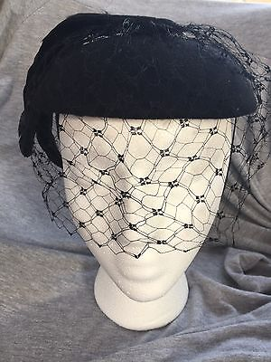vintage LADIES  BLACK wool/felt HAT feathers/veil flappers 1930's? FREE SHIPPING