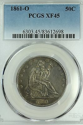 1861 O Seated Half Dollar! Pcgs Xf45! 50C! Us Coin Lot #3328