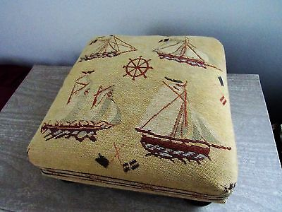 Antique Vintage NAUTICAL Sailboat Needlepoint Foot Stool Ottoman Ball Feet