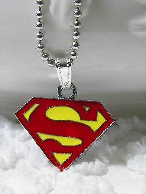 """N 403 New Super-Man Pendant Necklace , Beaded Chain 24"""" Can Cut Down US Seller"""