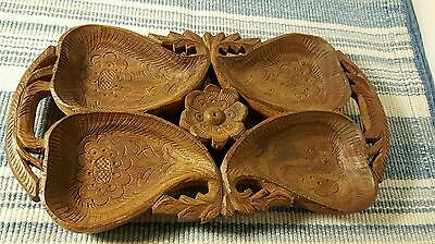 Hand Carved Wooden Serving Tray