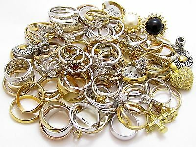 Huge Vintage Esposito Ring Lot*Rhinestone 14K Ge Espo Gold Plated Jewelry*A350