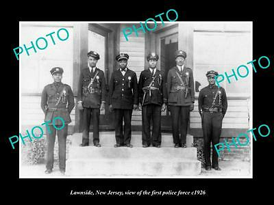 OLD LARGE HISTORIC PHOTO OF LAWNSIDE NEW JERSEY, THE 1st POLICE FORCE c1926