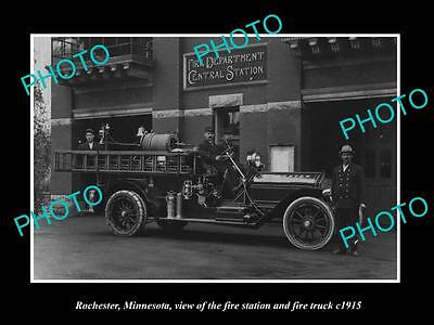 OLD LARGE HISTORIC PHOTO OF ROCHESTER MINNESOTA, THE FIRE STATION & TRUCK c1915