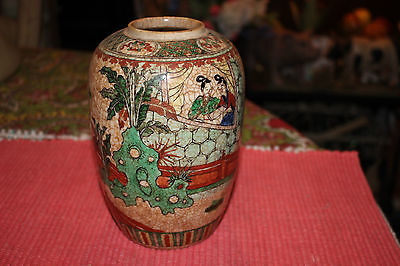 Antique Chinese Celadon Hand Painted Vase W/Women & Children Playing-Colorful