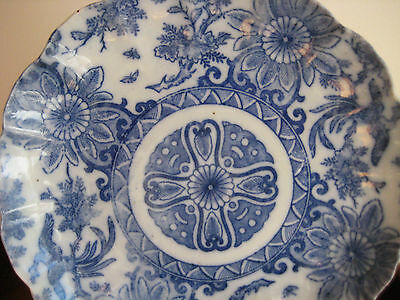 ANTIQUE JAPANESE BLUE & WHITE PLATE OR SHALLOW BOWL 19th CENTURY 8 5/8 ""