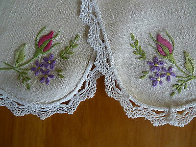 SWEET ROSEBUDS Beautifully Hand Embroidered Doily Pair on Natural Linen VINTAGE