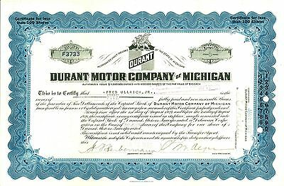 1923 DURANT MOTOR COMPANY of  MICHIGAN -  Blue Stock Certificate