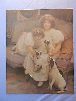 """VICTORIAN BEAGLE DOG & PUPS WITH SISTERS PRINT 16"""" x 20"""""""