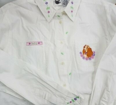 VTG NWOT Disney Lady The Tramp Shirt Size Womens 1X Embroidered White Button Up