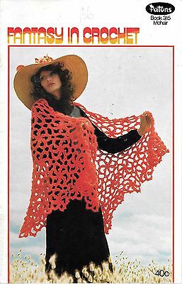 Fantasy in crochet Patons 315 mohair shawl vintage pattern book vest cardigan