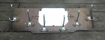 Vintage  BISTRO Art Deco coat rack with mirror  chrom hooks french 1920s