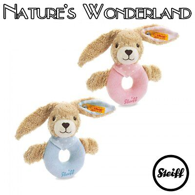 STEIFF Original Hoppel RABBIT Grip Toy RATTLE -ECO Baby Collection- Pink or Blue