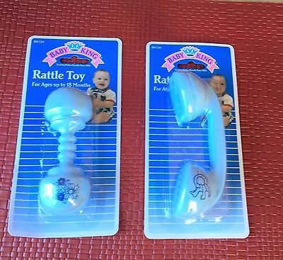 Restock Two Blue Classic Favorite Baby Rattles Phone & Dumbbell Nrfp