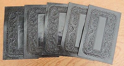 10 Vintage 3 1/2 x 5 1/2 Thin Embossed Black Leather Book Covers - Ships 4.95