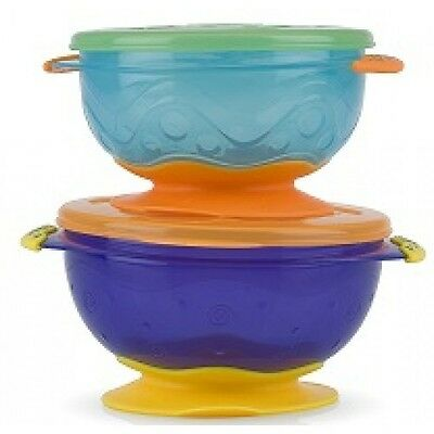 Nuby Stackable Suction Bowls Toddler Baby Weaning Feeding - 2 Pack