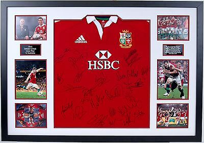 British & Irish Lions Rugby Jersey Signed & FRAMED By 2013 Squad Proof AFTAL COA