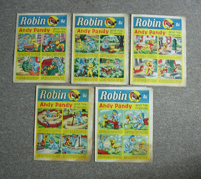 Lot of  5 vintage Robin comics from 1964 (companion to Eagle and Girl)