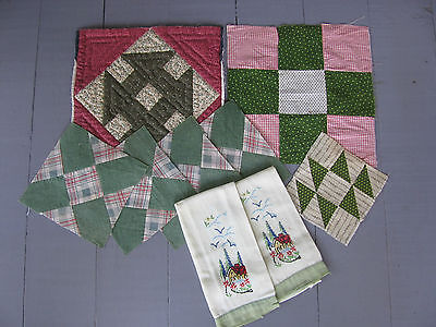 Mixed Lot of 9 ~ Orphan Quilt Blocks ~ Cutter Piece ~ Embroidered Hand Towels